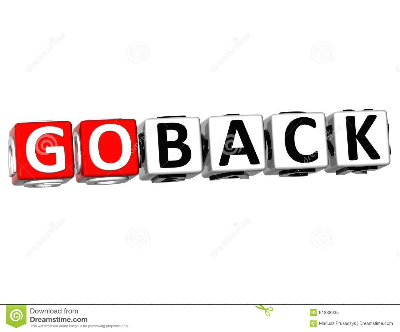 Download 3D Go Back Button Click Here Block Text Stock Illustration