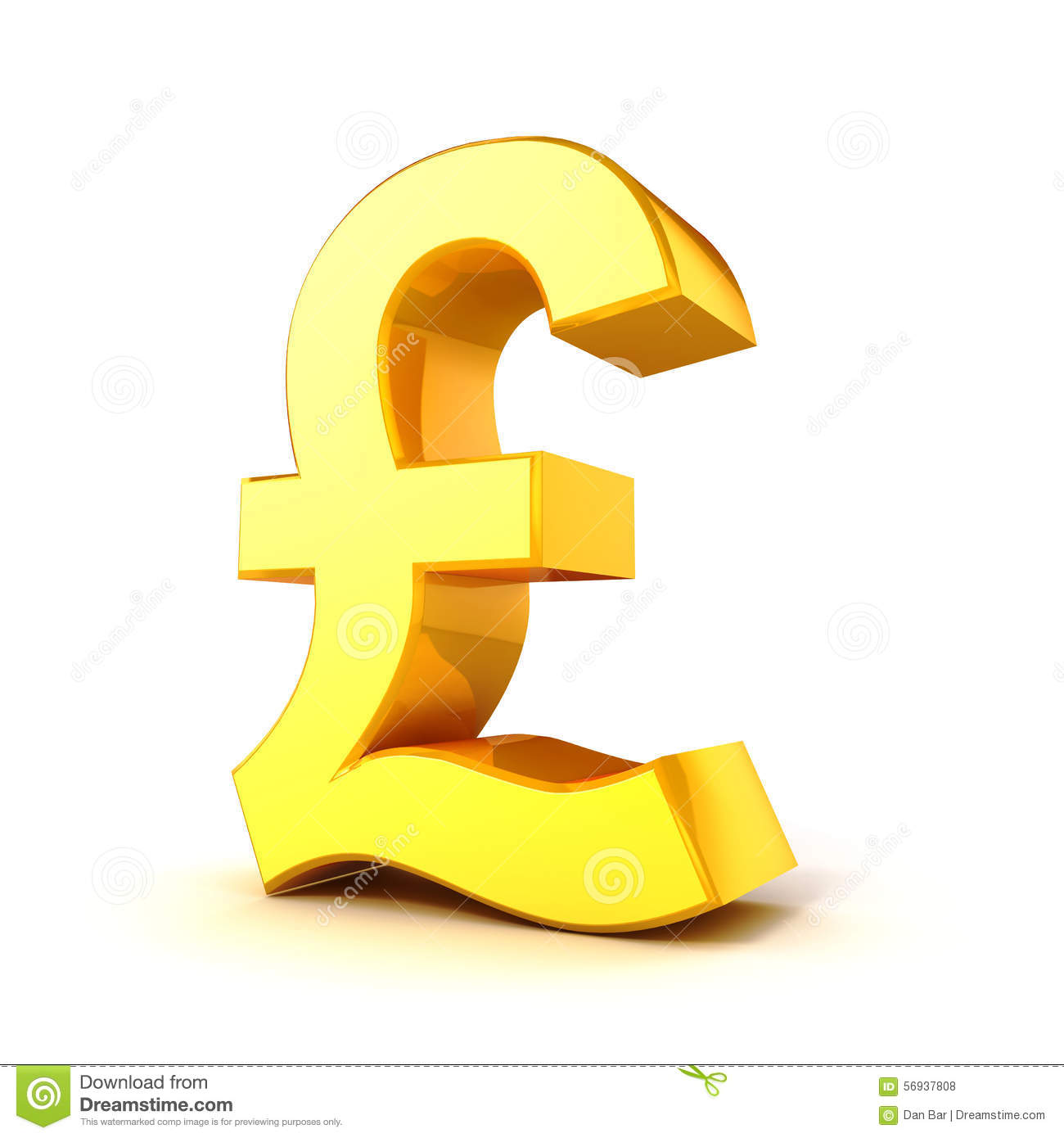 3d Gold Pound Currency Symbol Stock Illustration Illustration Of