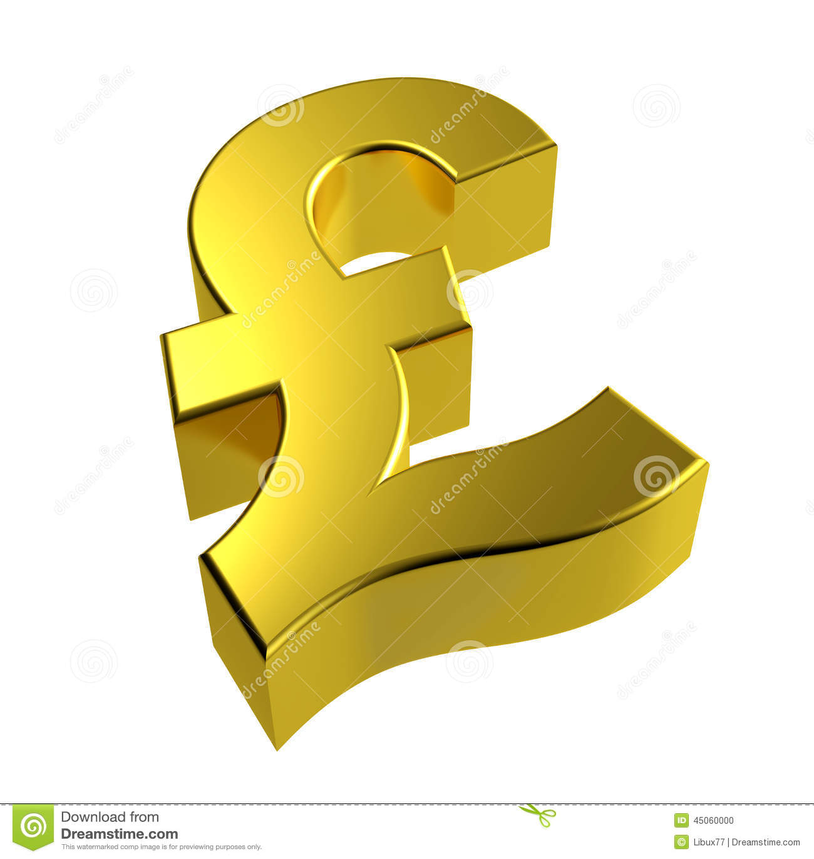 3d Gold Pound Symbol Golden British Stock Illustration
