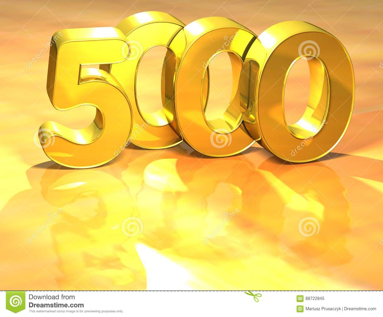 3d Gold Ranking Number 5000 On White Background  Stock