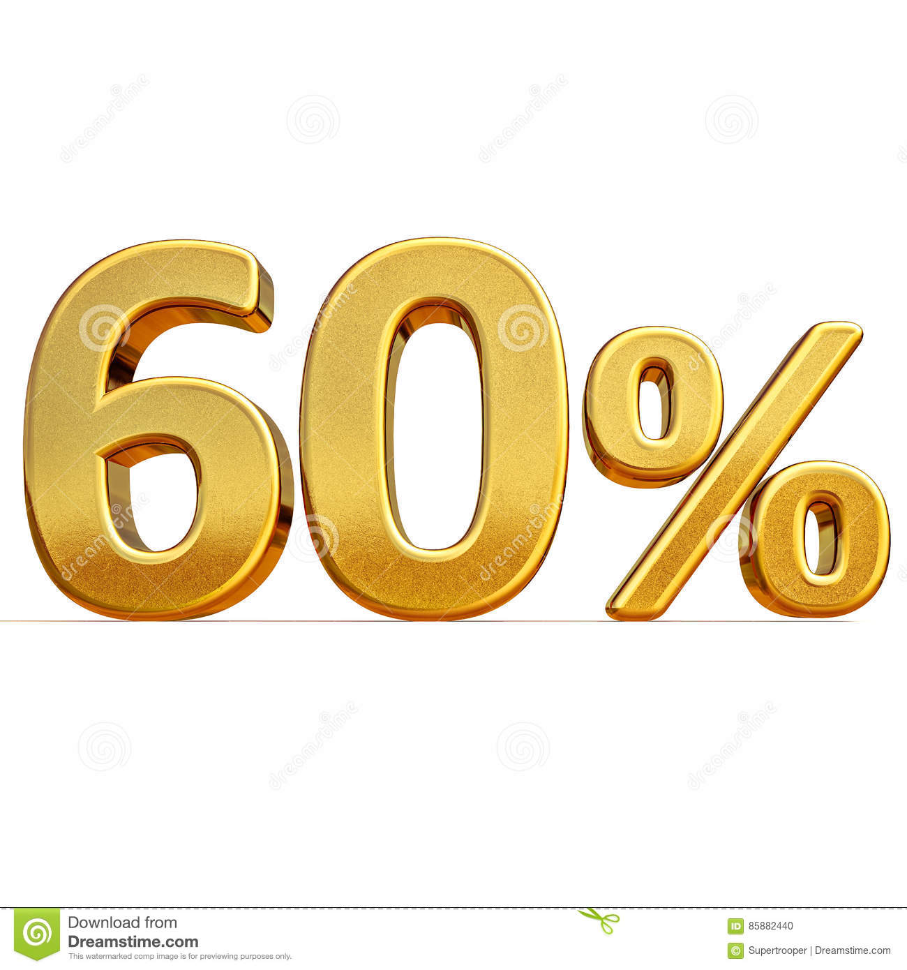 3d Gold 60 Sixty Percent Discount Sign Stock Photo Image