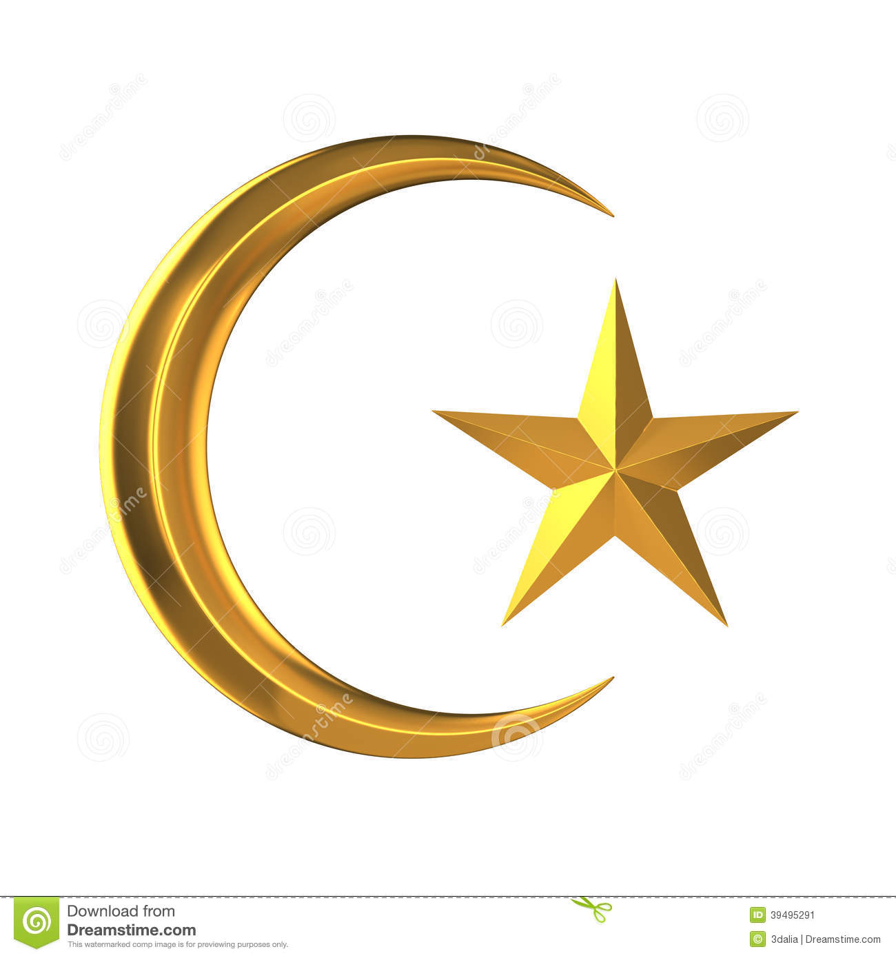 3d Gold star and crescent