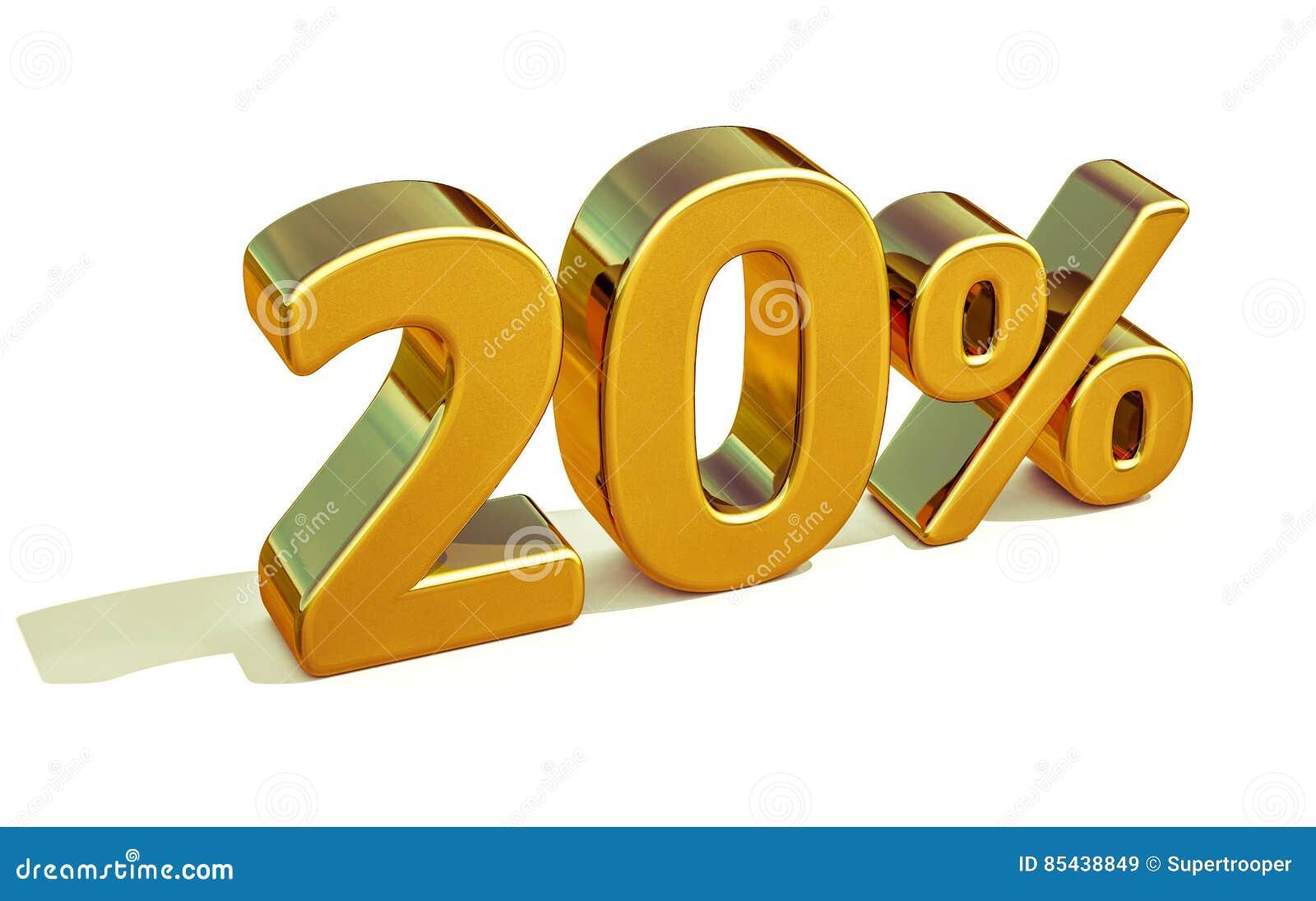 3d Gold 20 zwanzig Prozent-Rabatt-Zeichen