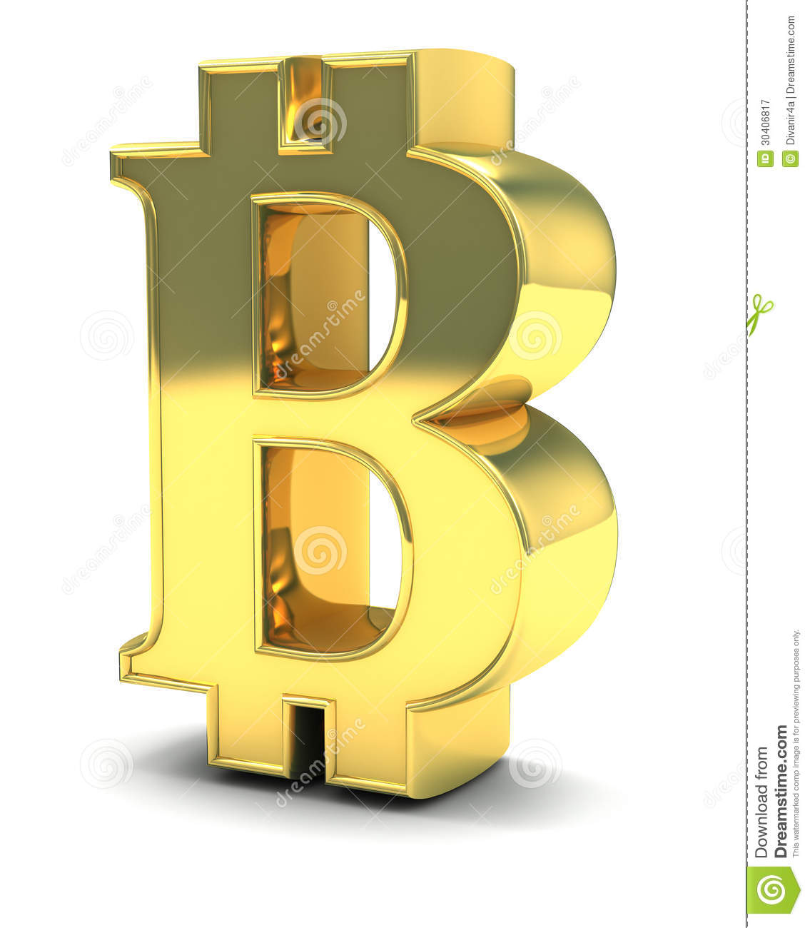 B  3D Golden Bitcoin Isol...