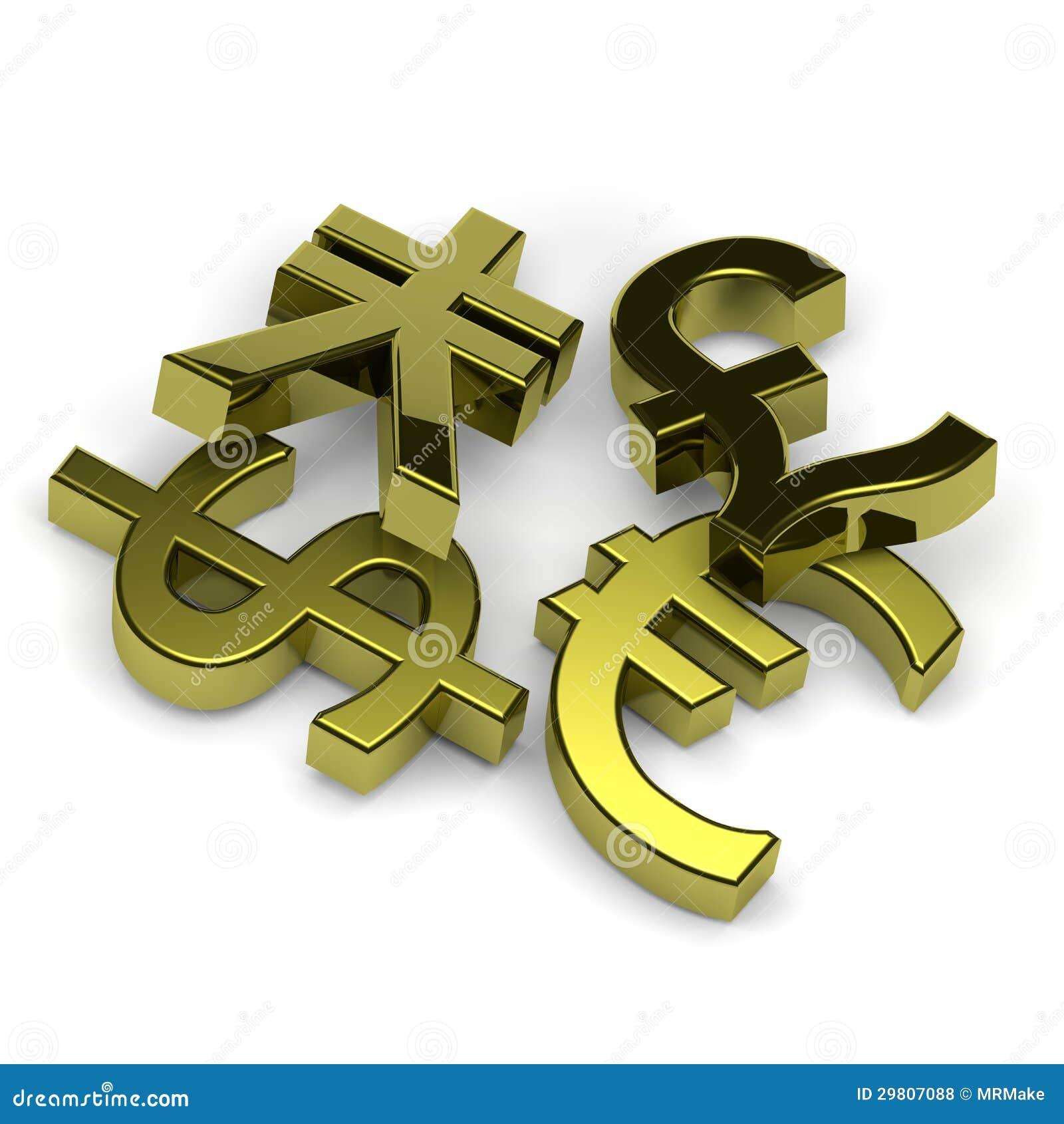 Currency symbols set on white