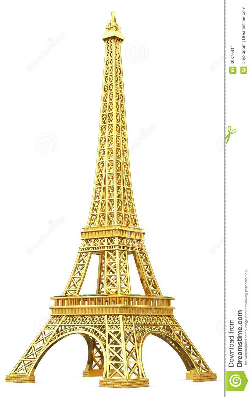 3d golden eiffel tower metallic stock illustration image champagne clip art free champagne clipart black and white