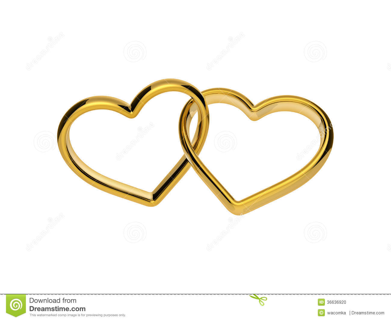 3d Golden Engagement Hearts Rings Connected Together Stock ...