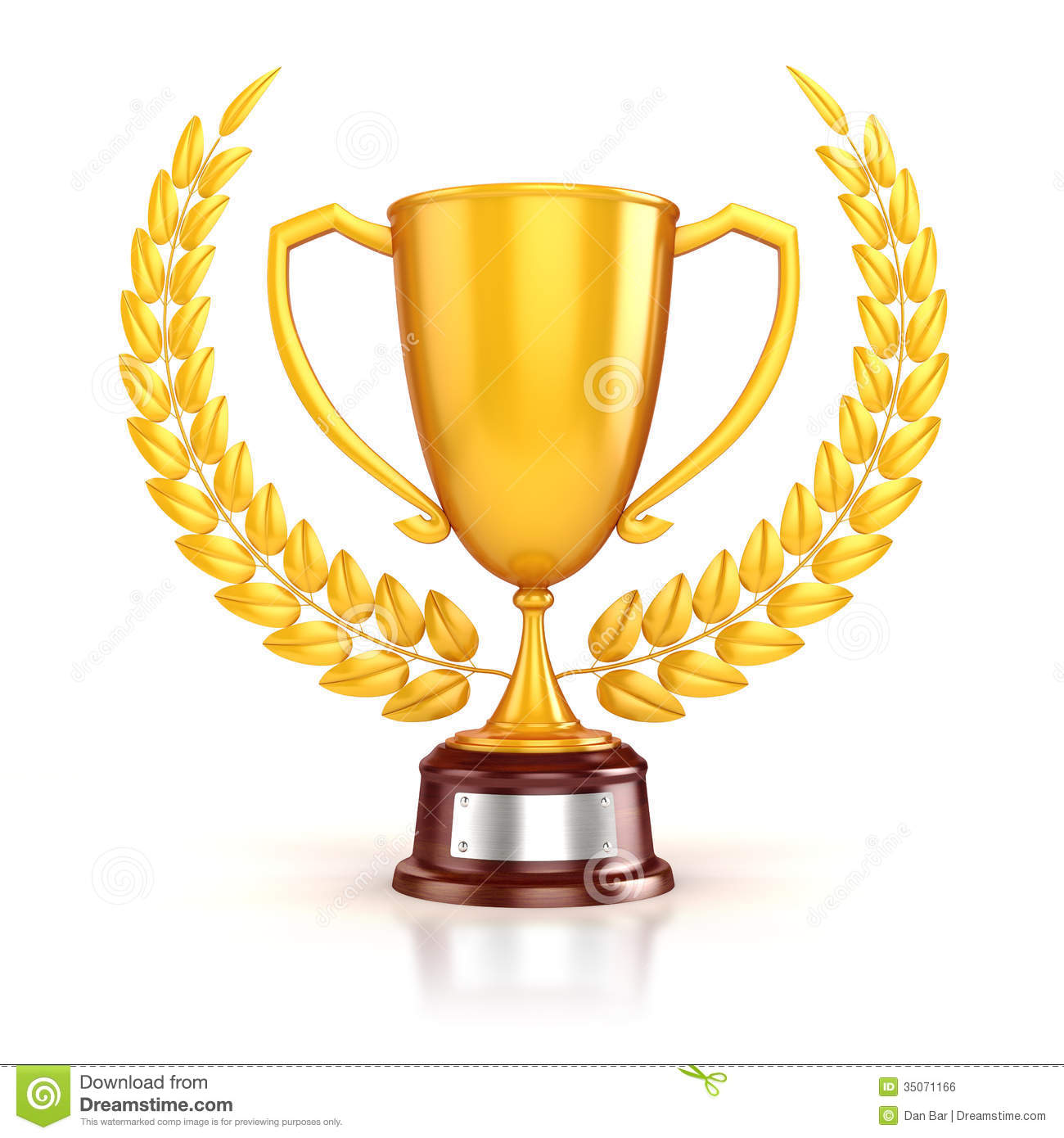 3d Golden Trophy And Laurel Stock Illustration