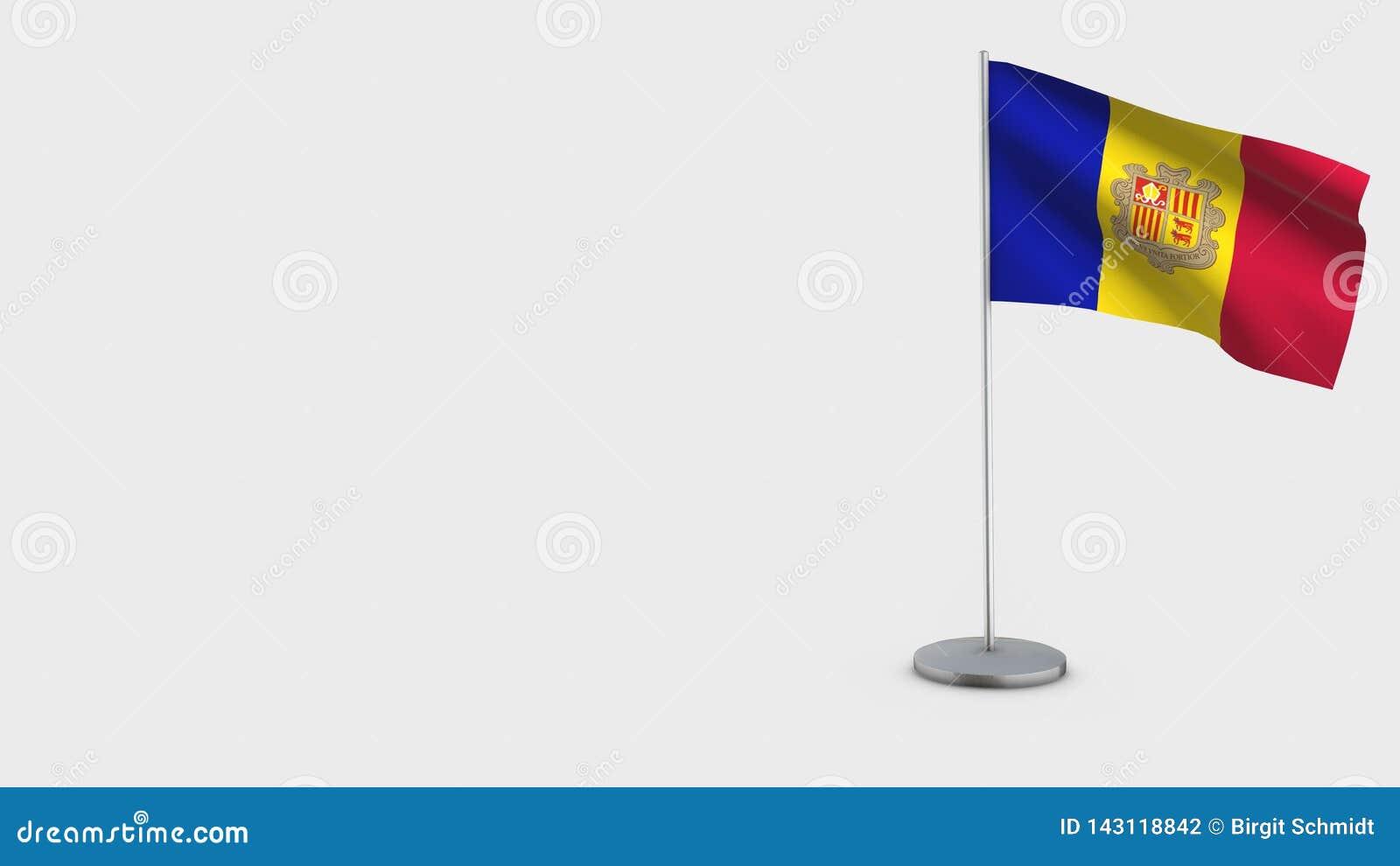 3D golvende de vlagillustratie van Andorra