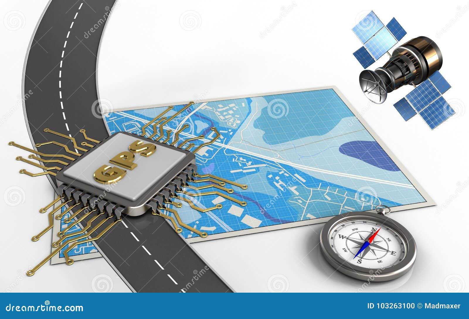 3d gps satellite stock illustration  Illustration of north