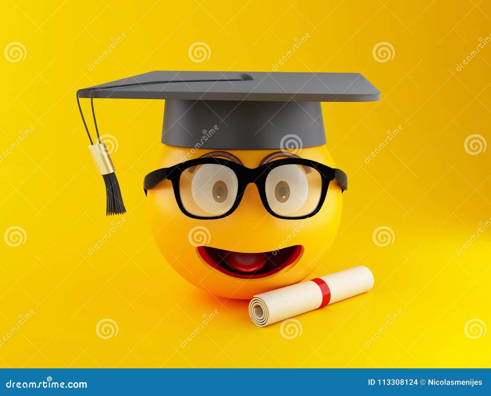 3d Graduation Emoji With Graduation Cap And Diploma. Stock