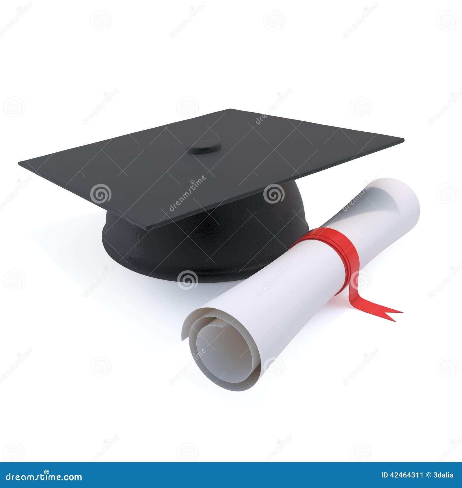 3d graduiert Mörserbrett und -diplom
