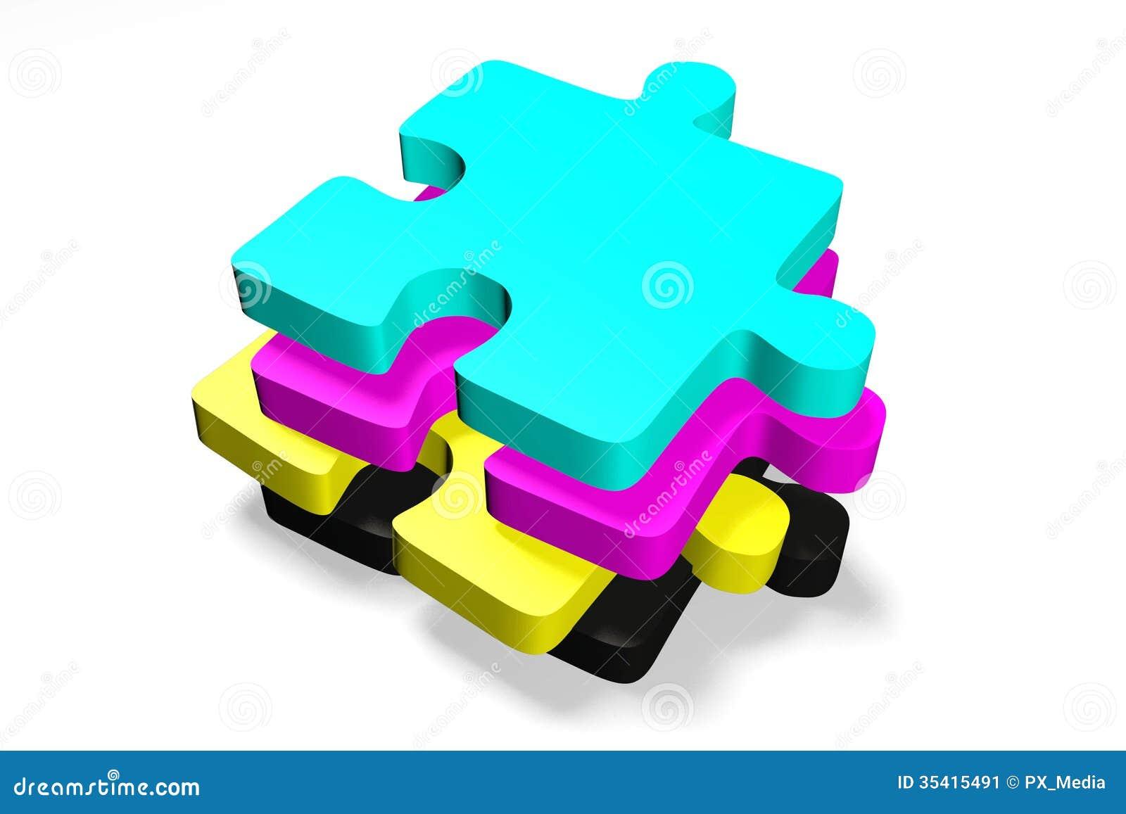 3d grafiek metaforen druk cmyk puzzels stock afbeelding afbeelding 35415491 - Grafiek blauw grijze verf ...
