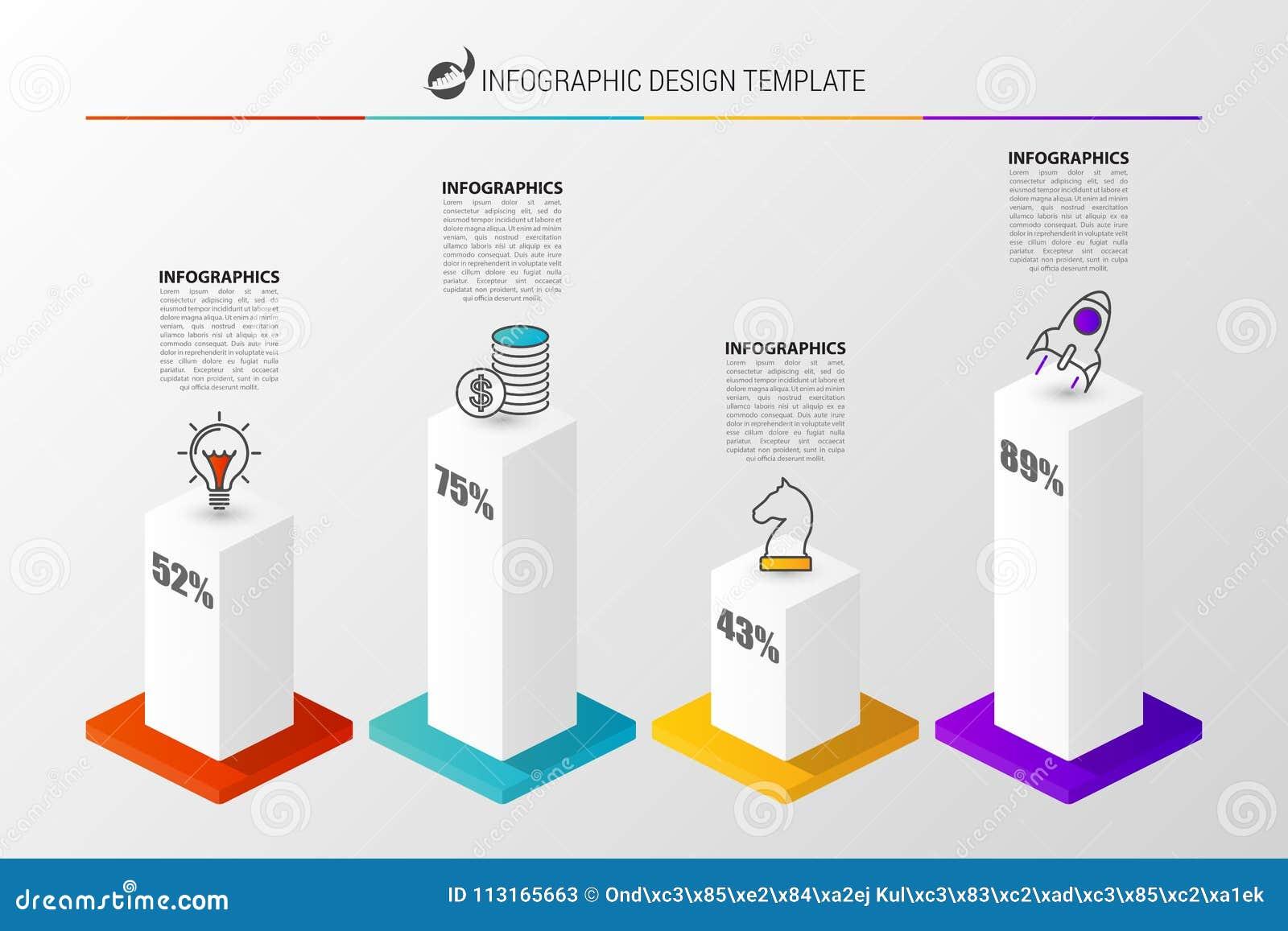 3D grafiek voor infographic Modern vectorontwerpmalplaatje Vector