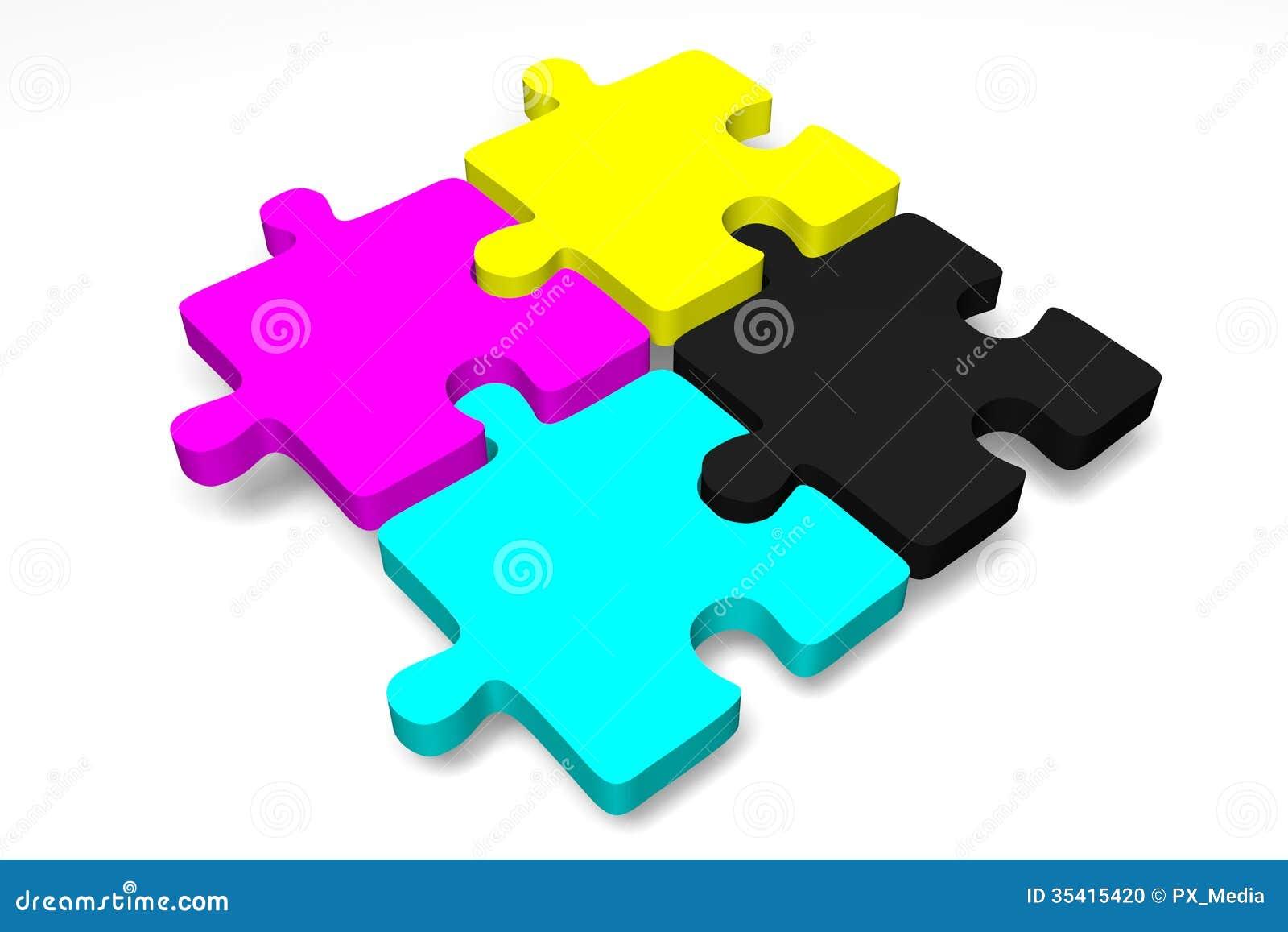 3D Grafiken, metaphores, Drucken, CMYK, Puzzle
