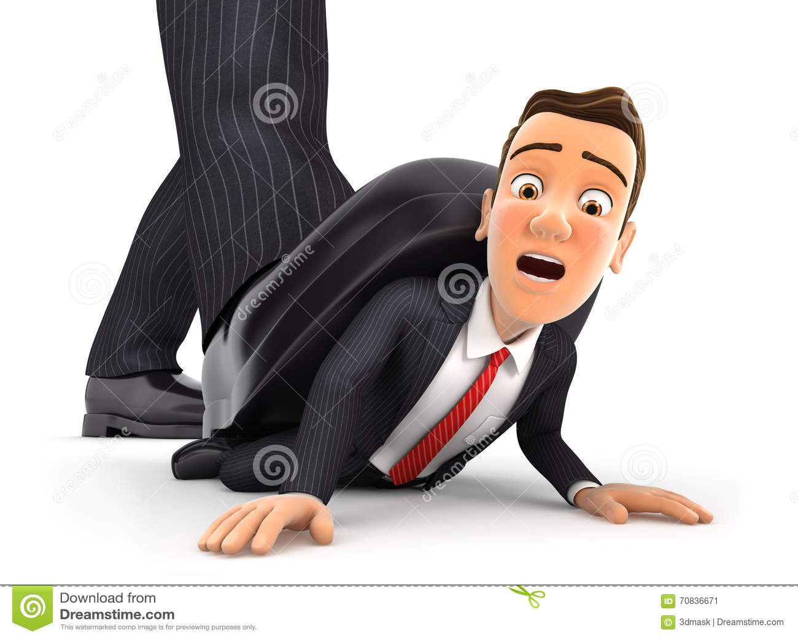 3d grande piede che schiaccia uomo d affari