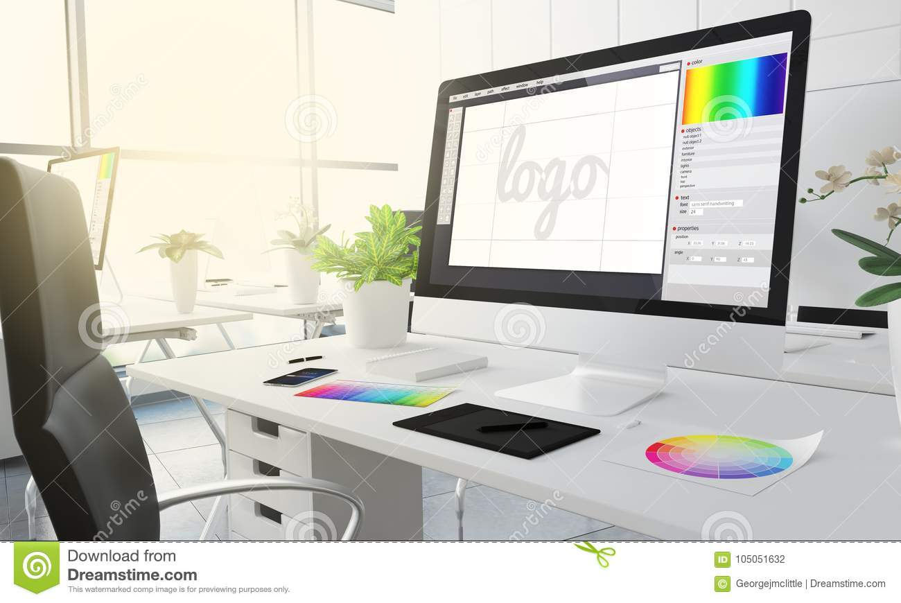 3d Graphic Design Studio Stock Illustration Illustration Of Workplace 105051632