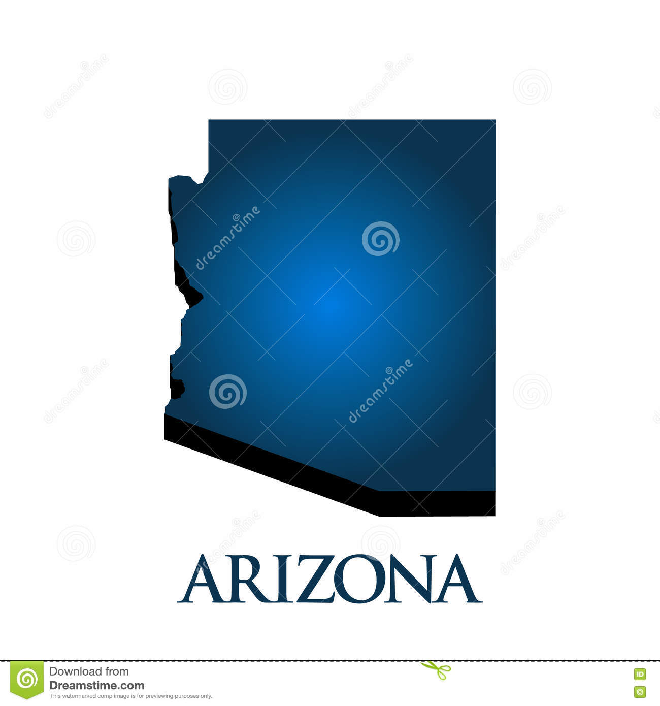 Geographical Map Of Arizona.3d Graphic Map Of Arizona State Stock Vector Illustration Of West