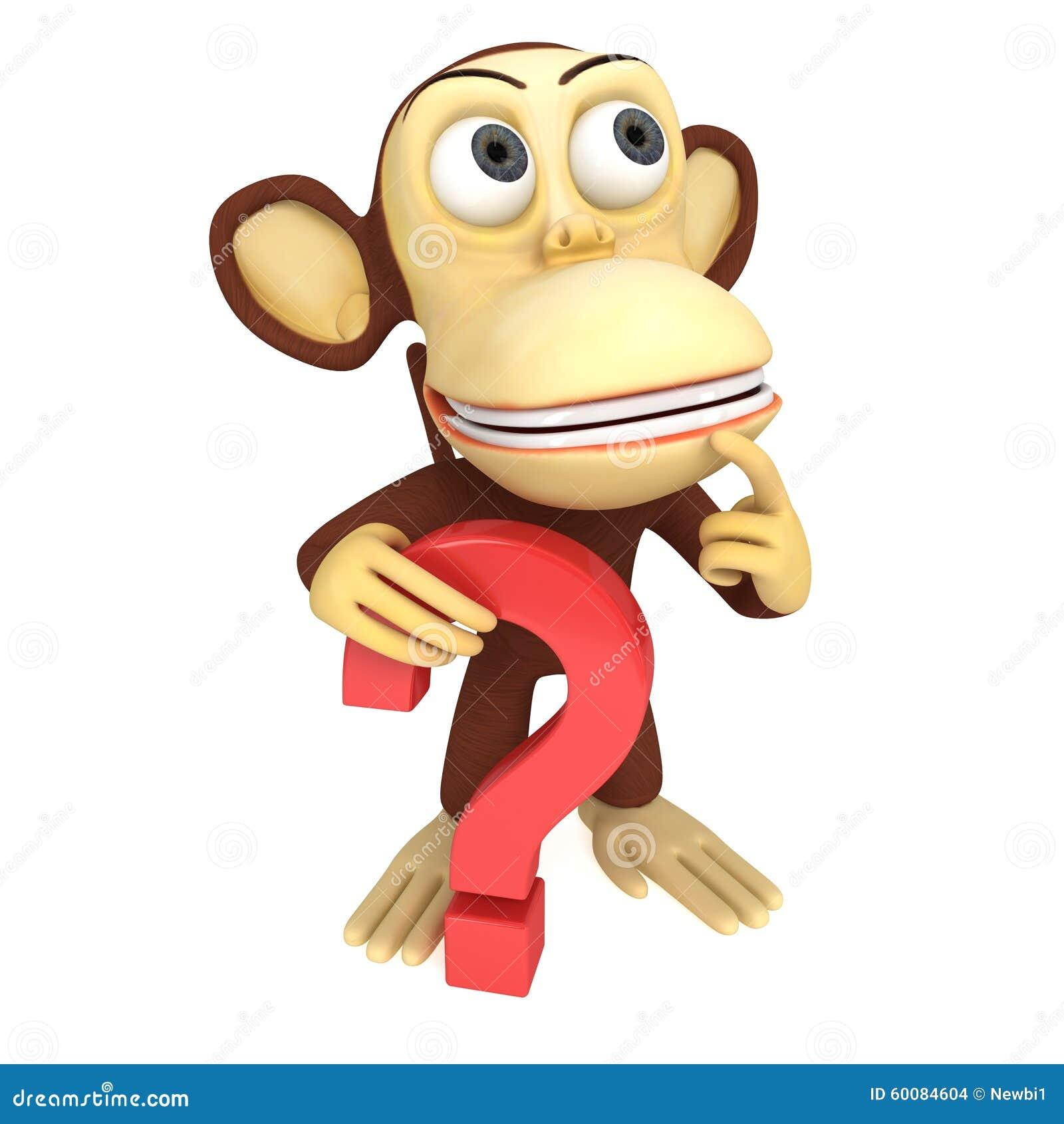 3d grappige aap met rood vraagteken stock illustratie   afbeelding 60084604