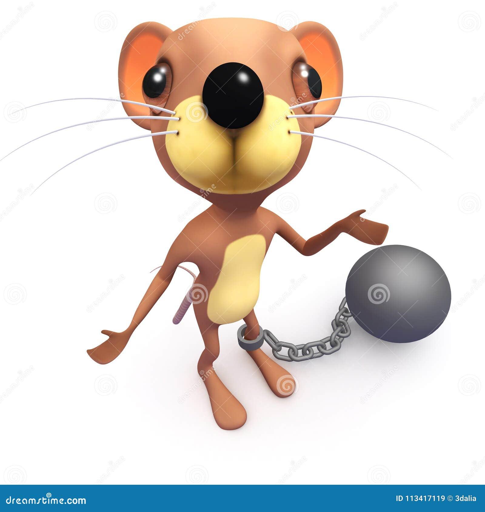 3d Grappige karakter van de beeldverhaal grappige muis met een bal en een ketting