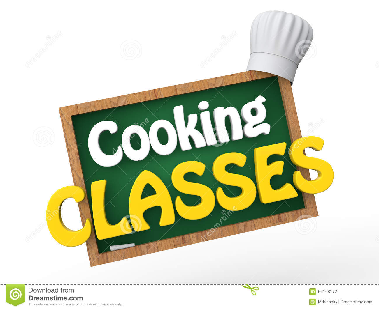 3d green board with chef hat and cooking classes text stock rh dreamstime com
