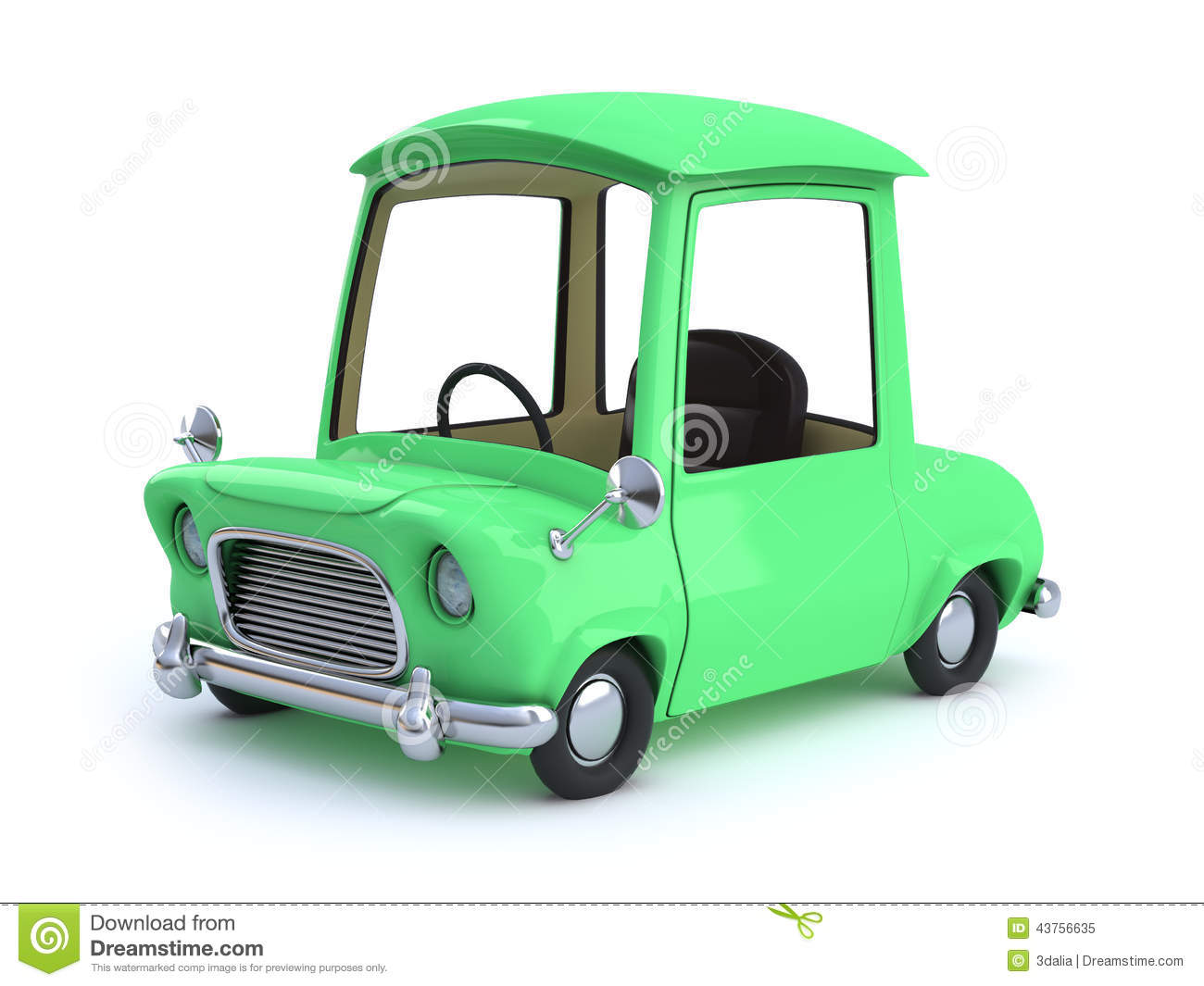3d Green Cartoon Car Stock Illustration Illustration Of Drive