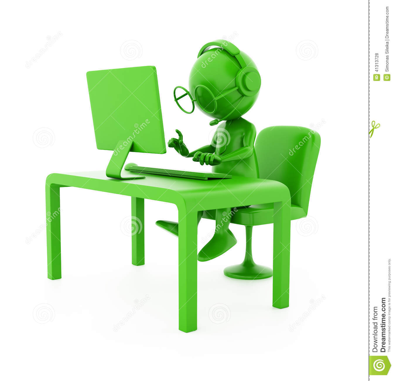 3d green character operator programmer working on