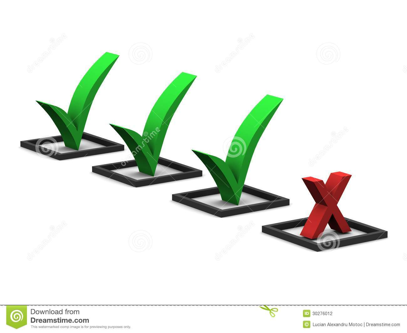 check marks and x mark stock illustration illustration of done