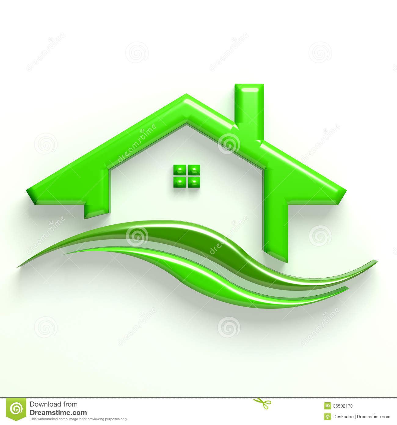 3d green house wave logo stock photo   image 36592170