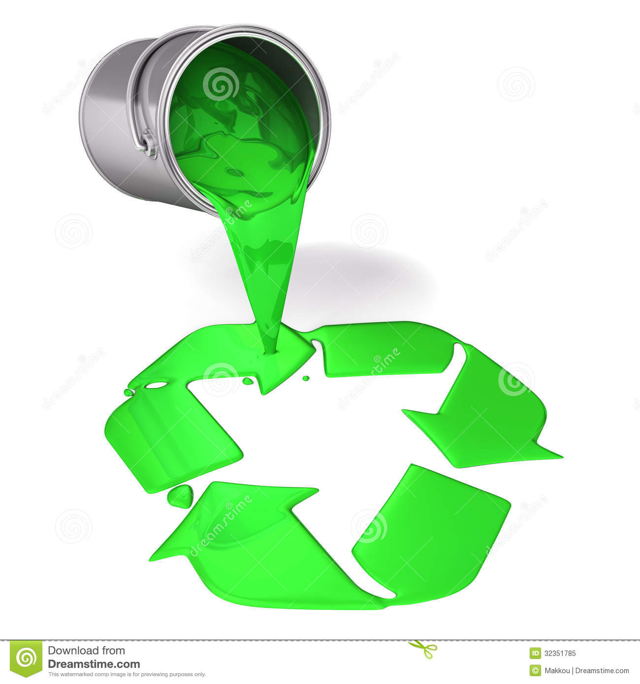 3d green paint pour a recycle symbol stock illustration