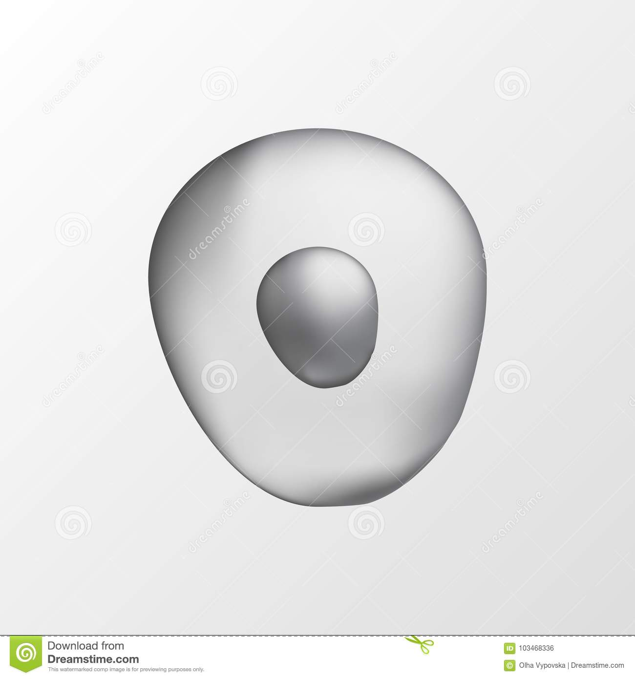 3d isolated human grey cell realistic illustration template for