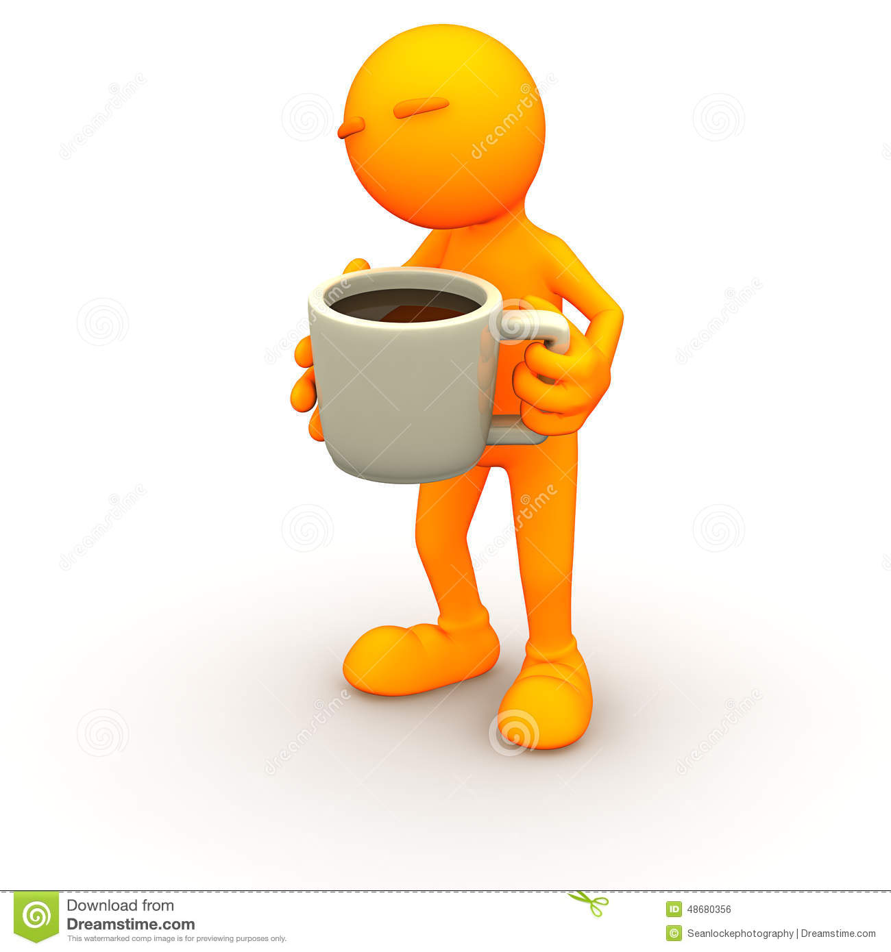 3d Guy: Holding a Huge Cup of Coffee