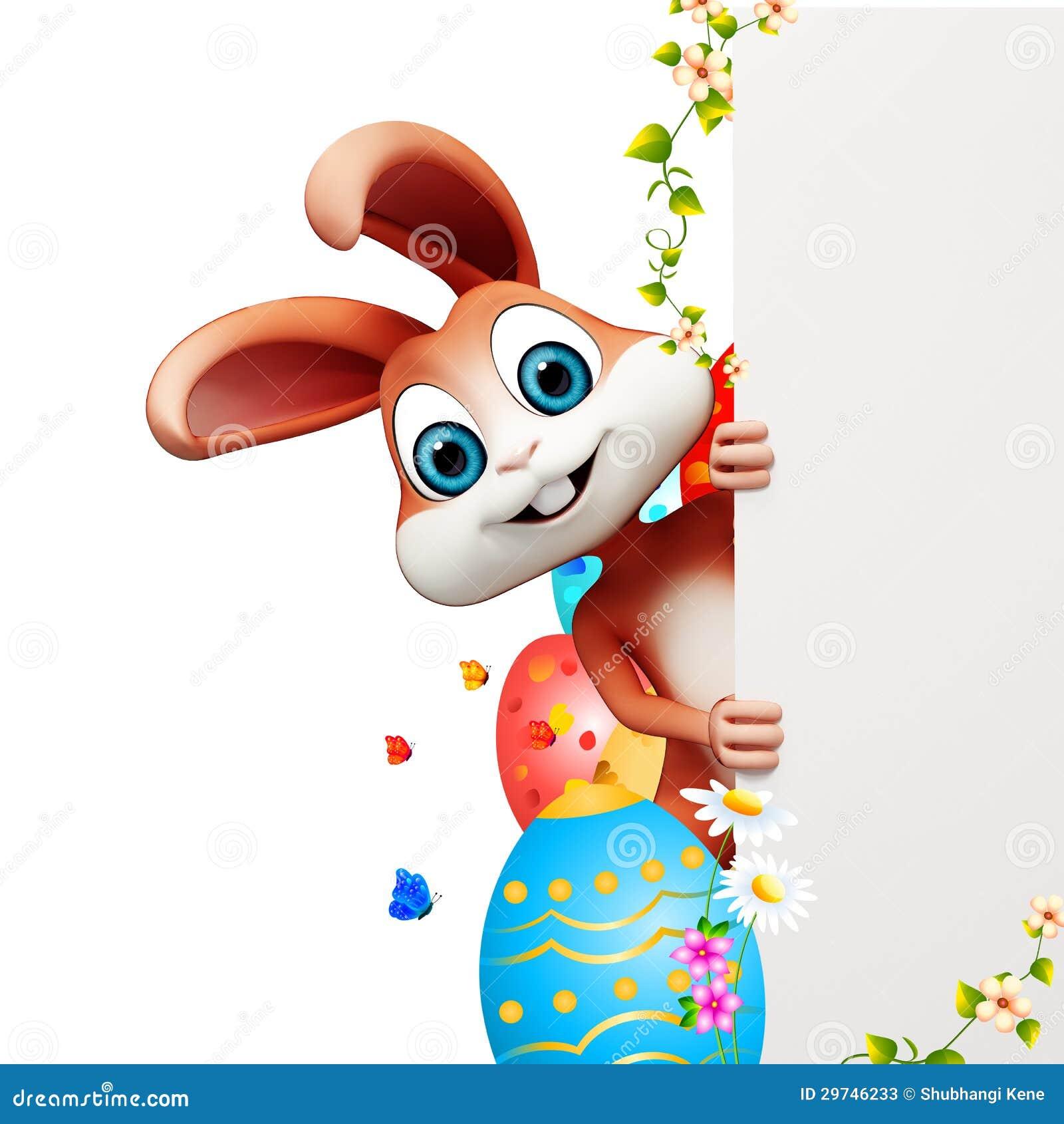 Coniglietto di pasqua che si nasconde dietro il segno con - Lettere stampabili del coniglietto di pasqua ...
