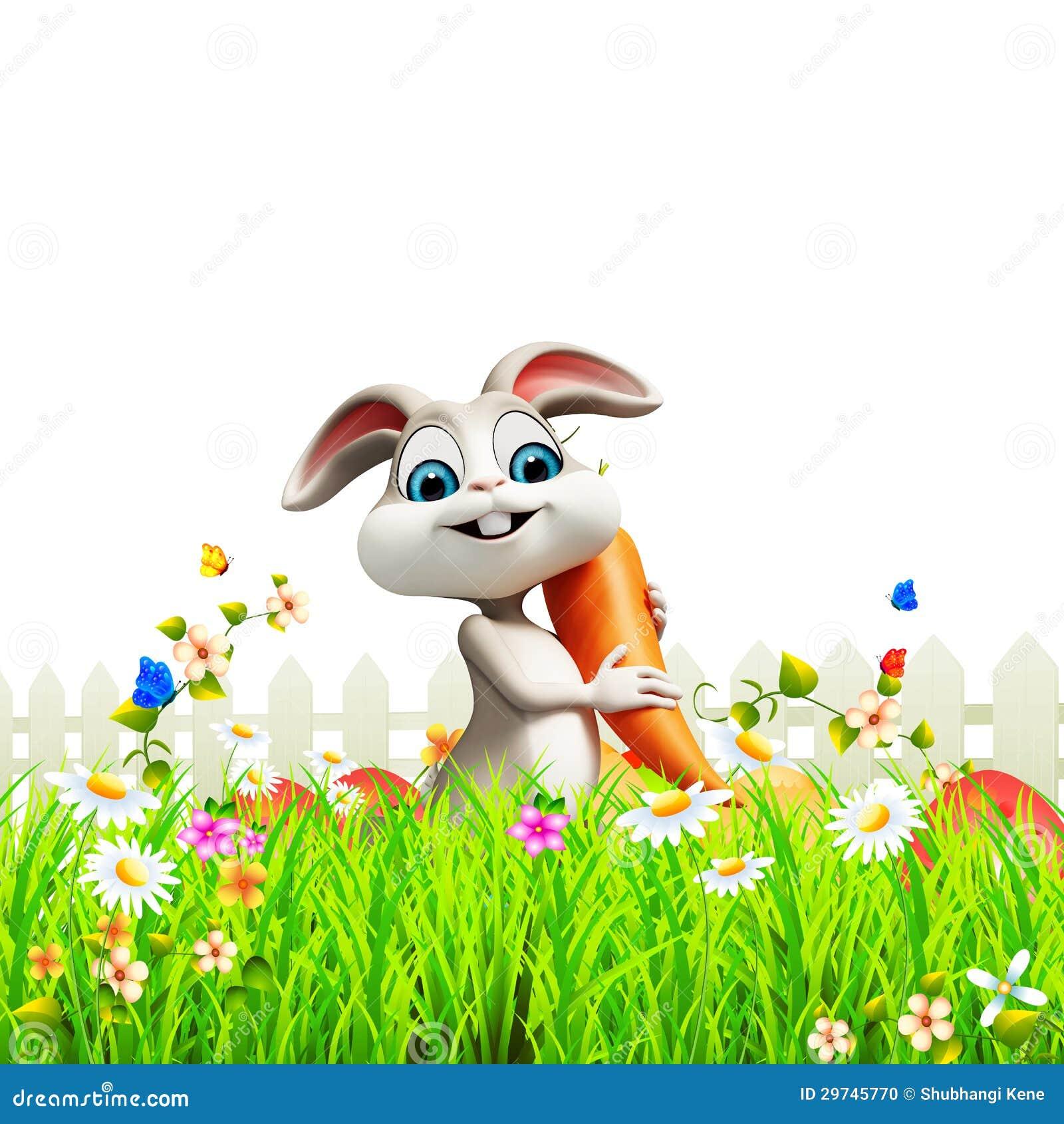 Coniglietto di pasqua grigio con la carota in giardino - Lettere stampabili del coniglietto di pasqua ...