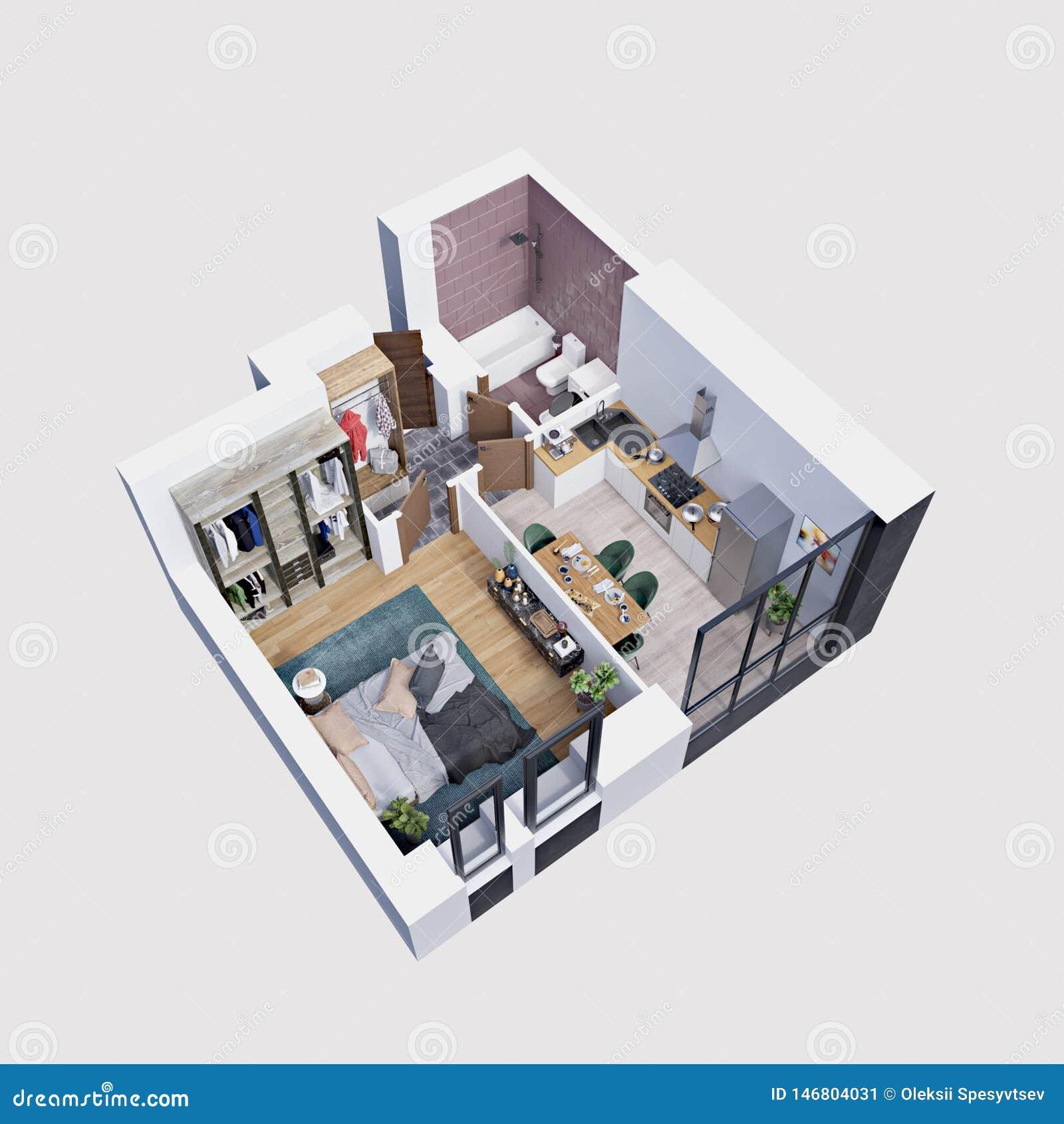 3d hacen el plan y la disposición de un apartamento moderno, isométricos