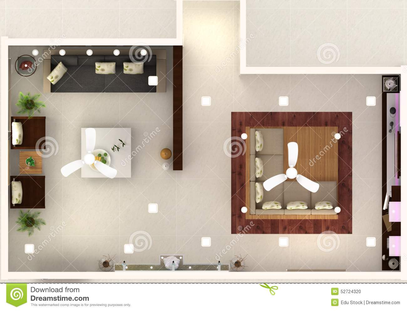 3d hall interior design top view stock illustration