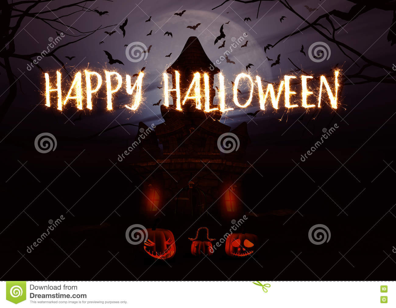 halloween spooky ghost castle background stock photos image 3d halloween background pumpkins and spooky castle stock photography
