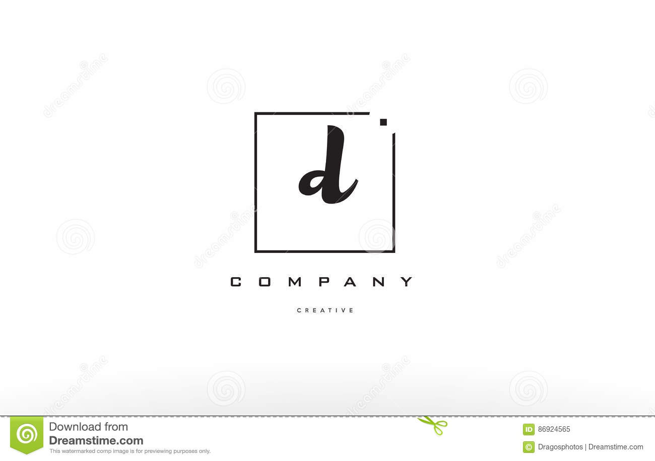 D Hand Writing Written Black White Alphabet Company Letter Logo Square Background Small Lowercase Design Creative Vector Icon Template