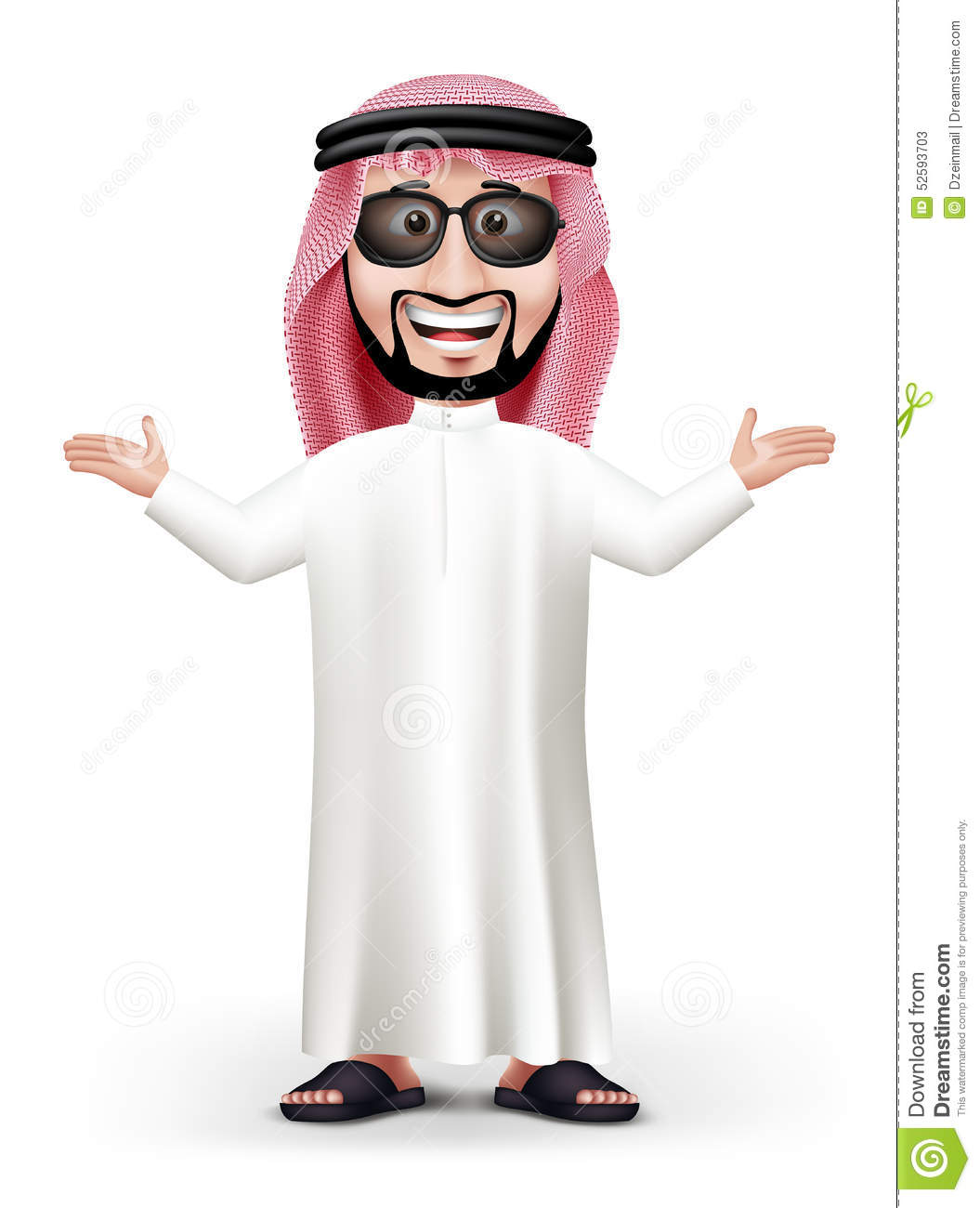 3D Handsome Saudi Arab Man In Traditional Dress Stock Vector - Image ...