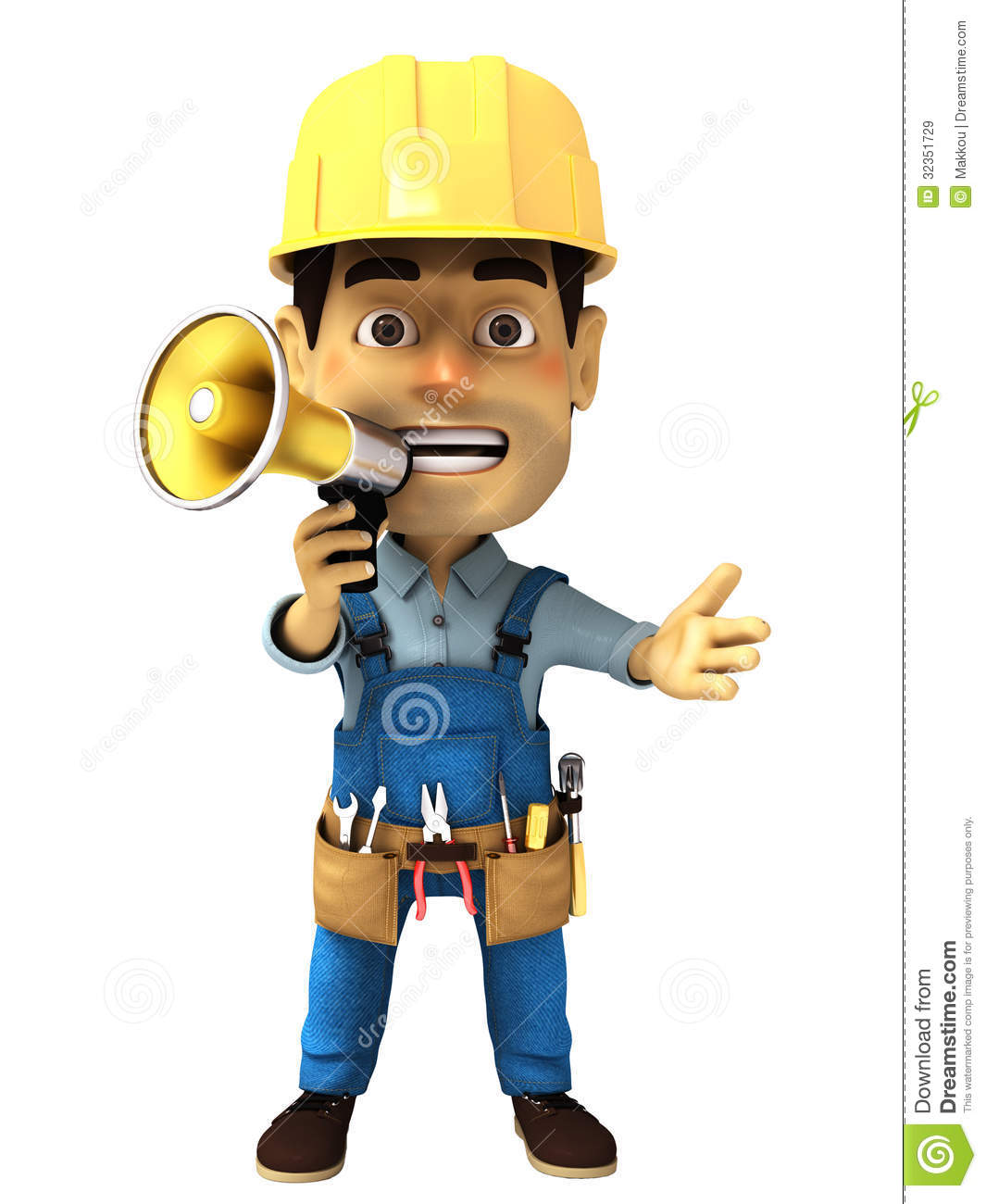 3d Handyman With Megaphone Stock Illustration. Image Of