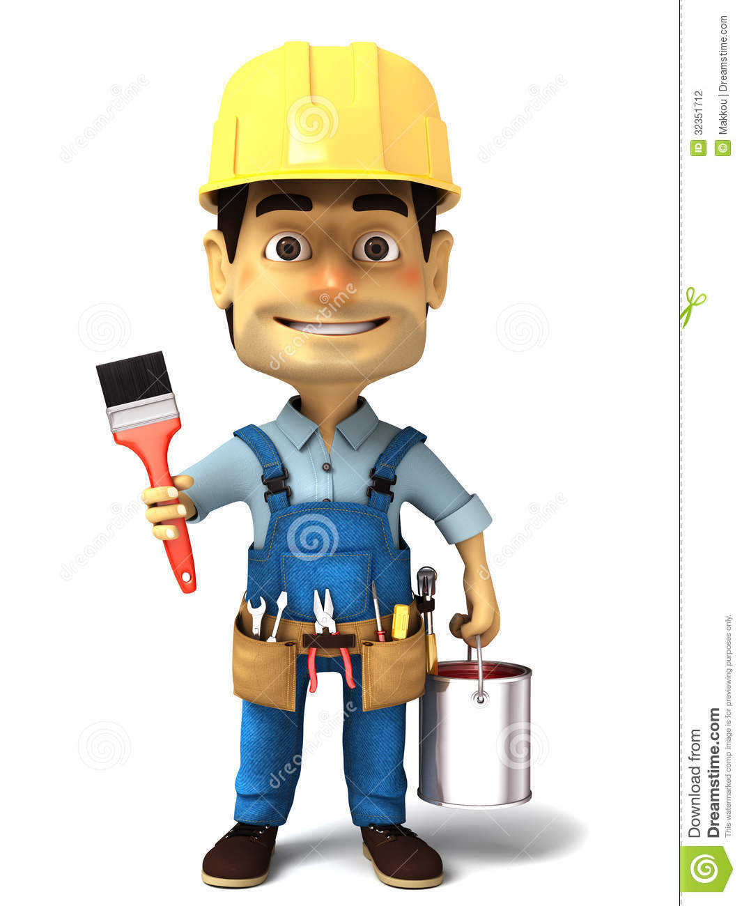 3d Handyman With Paint Can And Paint Brush Stock