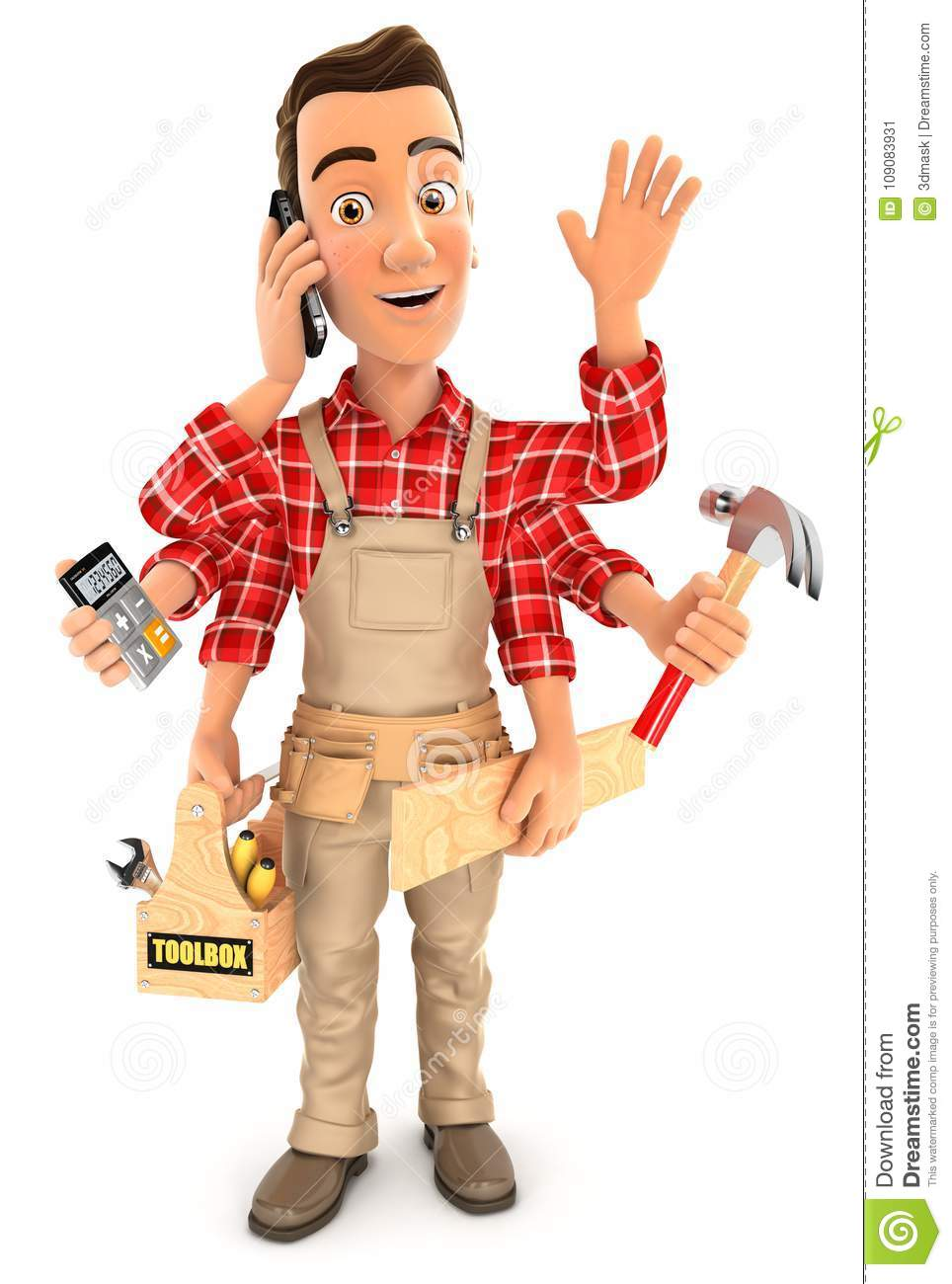 3d handyman with six arms multitasking concept