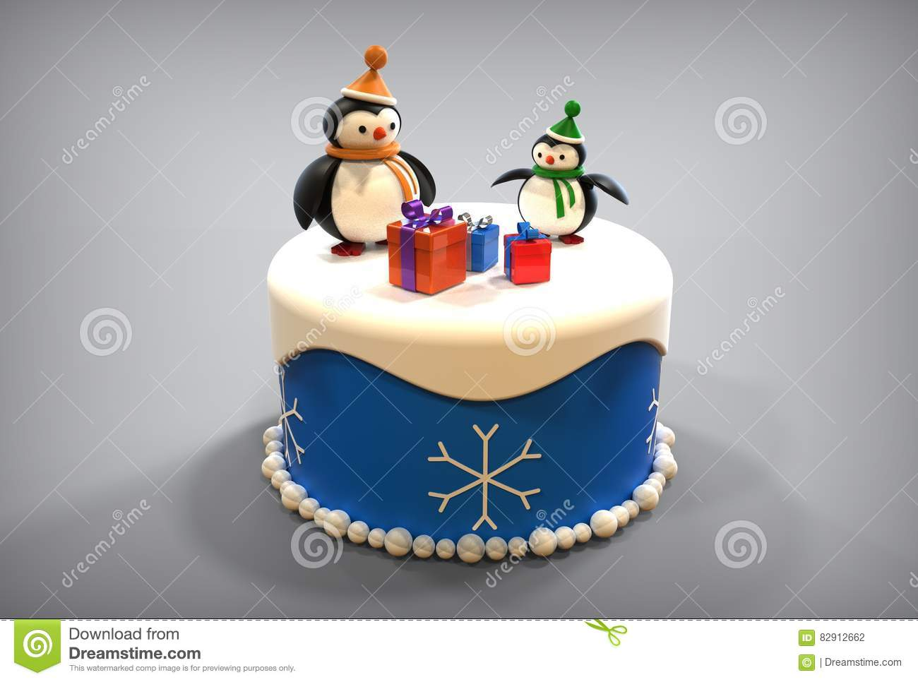 3d happy new year toy penguins on cake
