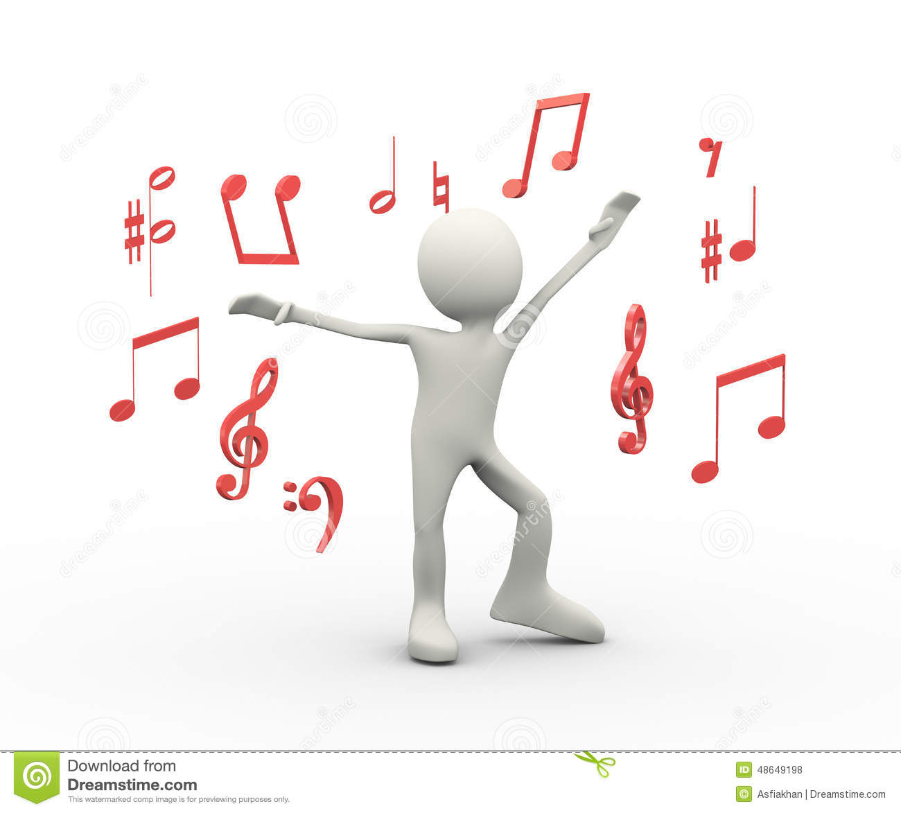 3d Happy Singing Dancing Person With Musical Notes Stock Illustration ...