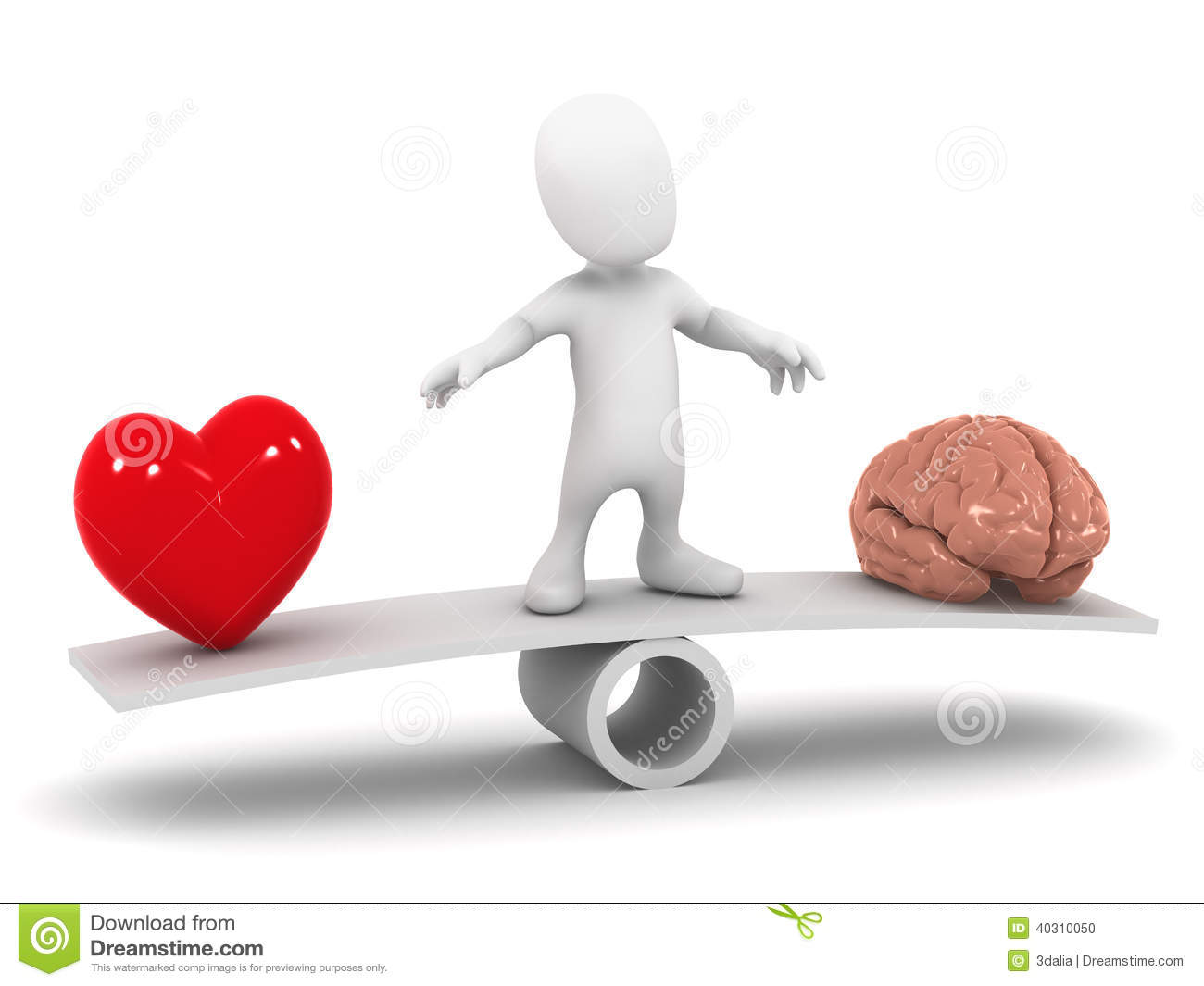 Heart Mind Decision Render Little Man Seesaw Torn To Lyssna