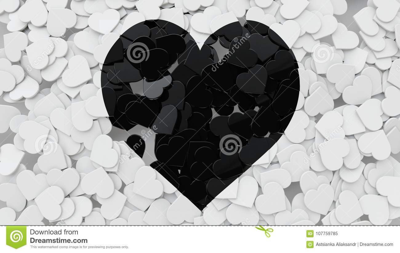 3d Heart Shape Tiles Scattered On The Floor With Heart Symbol 3