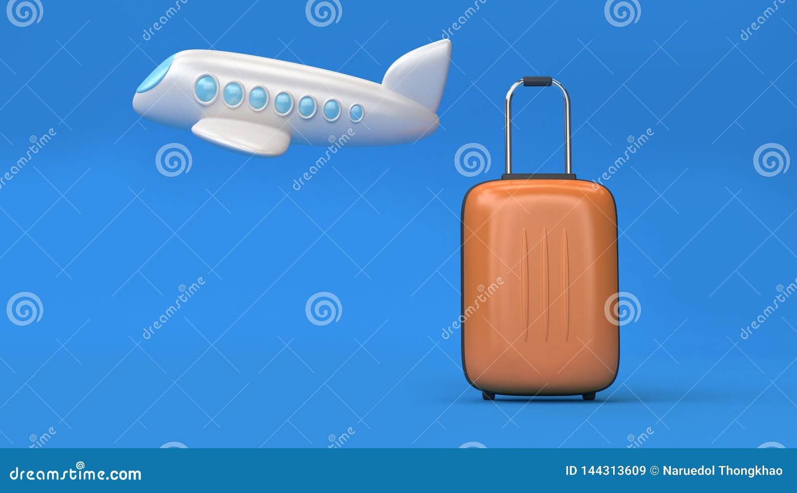3d heblują kreskówka styl i torby minimalny błękitny tło, iść podróż transportu pojęcie 3d odpłaca się