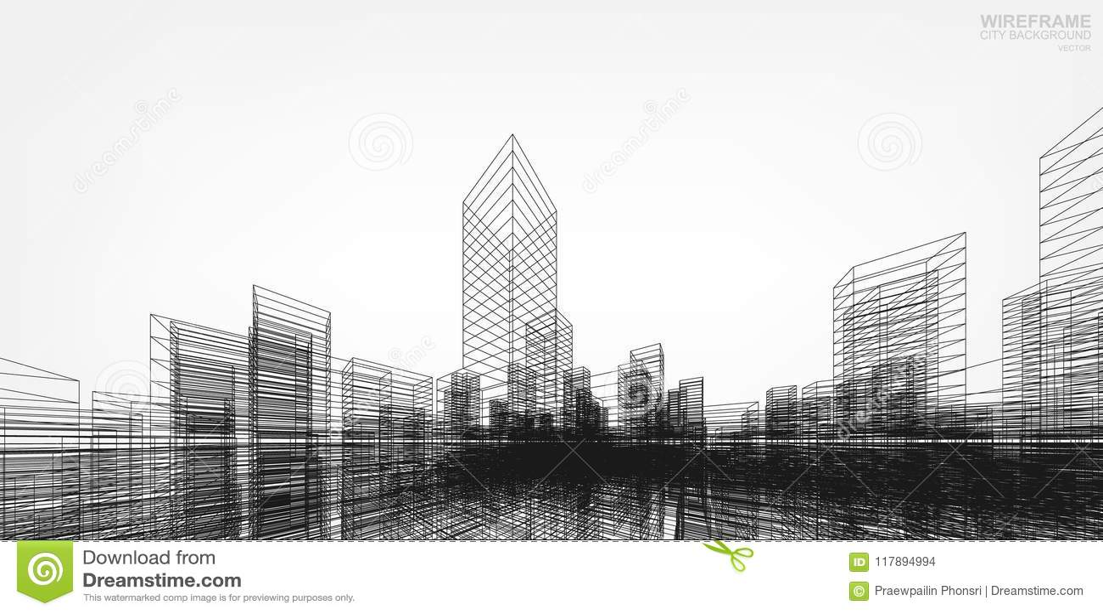 3D het perspectief geeft van de bouw terug wireframe Vector