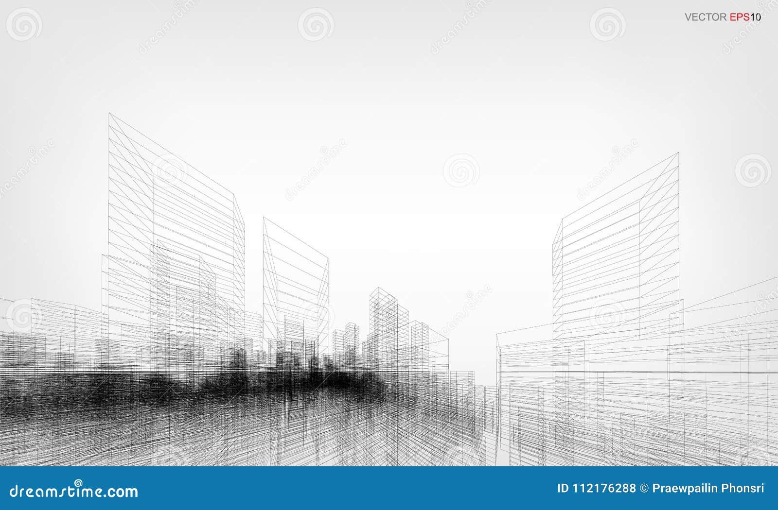 3D het perspectief geeft van de bouw terug wireframe Vector illustratie