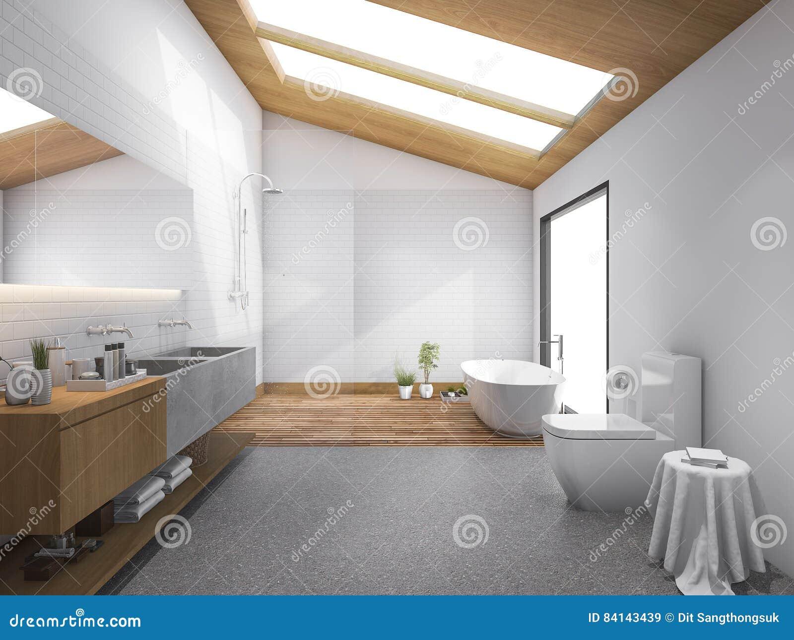 D het teruggeven dakraam houten dak met modern ontwerpbadkamers